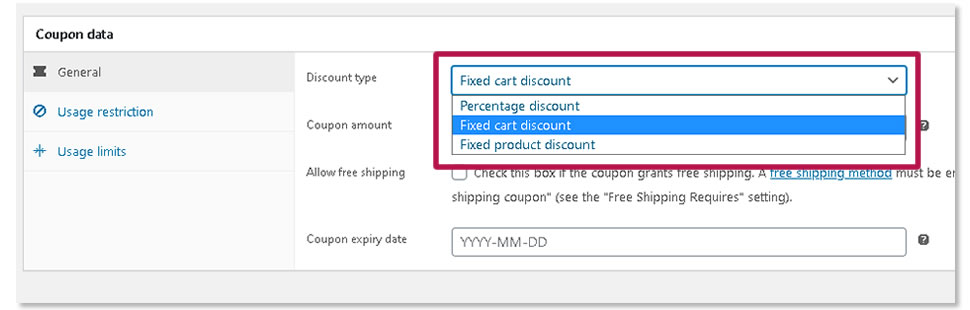 woocommerce - popular types of coupons
